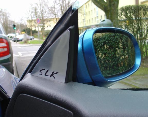 2 Zierblenden Spiegeldreieck mit SLK Logo